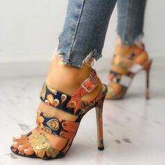 Donna PU Tacco a spillo Sandalo con Fibbia scarpe