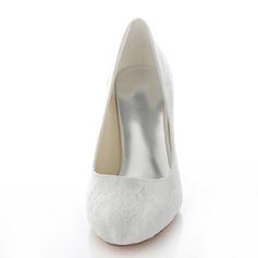 Frauen Lace Stöckel Absatz Geschlossene Zehe Absatzschuhe