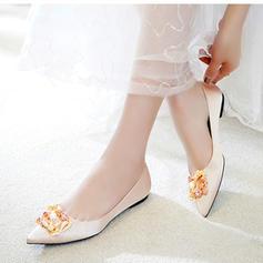 Femmes Soie Talon plat Bout fermé Chaussures plates avec Cristal