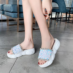 Femmes Tissu Talon compensé Sandales Plateforme À bout ouvert avec Paillette chaussures