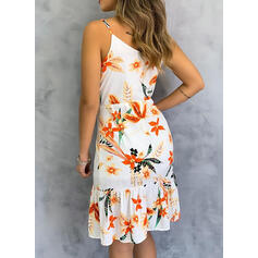 Print/Floral Sleeveless Sheath Knee Length Casual/Vacation Slip Dresses