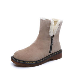 Women's Suede Low Heel Platform Boots Snow Boots With Zipper Faux-Fur shoes