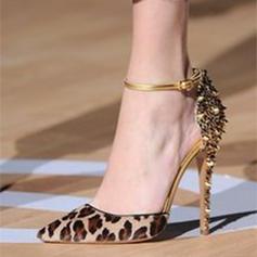 Women's Leatherette Stiletto Heel Sandals Pumps Closed Toe With Rivet Buckle shoes
