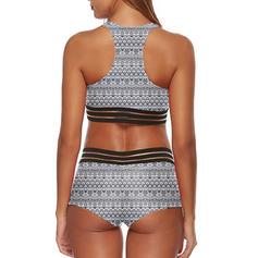 Low Waist Print Strap U-Neck Sexy Bikinis Swimsuits