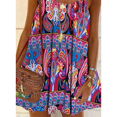 Print Sleeveless Shift Above Knee Casual/Boho/Vacation Slip Dresses