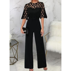 Solid Round Neck 1/2 Sleeves Elegant Party Jumpsuit