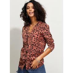 Animal Print Lapel Long Sleeves Button Up Casual Elegant Shirt Blouses