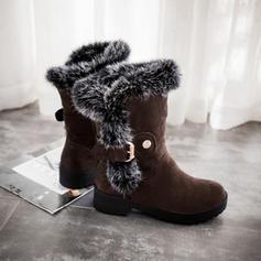 Femmes Suède Talon bas Bout fermé Bottes Bottes mi-mollets avec Boucle chaussures
