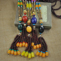 Fashionable Alloy Agate Wooden Beads With Gem Women's Fashion Necklace