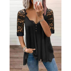 Solid Lace V-Neck 1/2 Sleeves T-shirts