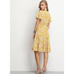 Print/Floral Short Sleeves A-line Knee Length Casual/Elegant Dresses