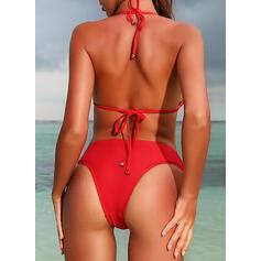 Solid Color Low Waist Halter Beautiful Attractive Amazing Bikinis Swimsuits