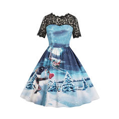 Lace/Print Short Sleeves A-line Knee Length Vintage/Christmas/Casual/Party/Elegant Dresses