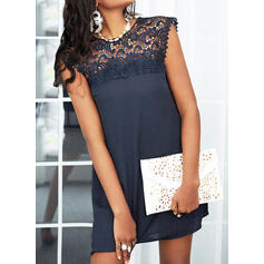 Lace/Solid/Hollow-out Sleeveless Shift Above Knee Casual Dresses