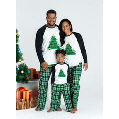 Plaid Letter Print Familie Matchende Jul Pyjamas