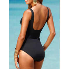 Stripe Print Strap U-Neck Sexy Plus Size One-piece Swimsuits