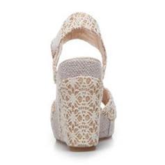 Frauen Mesh Keil Absatz Keile mit Zweiteiliger Stoff Schuhe