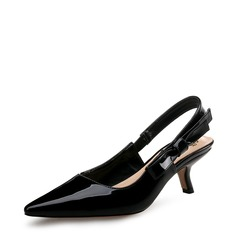 Women's Patent Leather Stiletto Heel Pumps Closed Toe Slingbacks With Bowknot shoes
