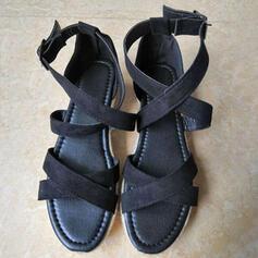 Mulheres Veludo Sem salto Sandálias Peep toe com Fivela Animal da Cópia sapatos