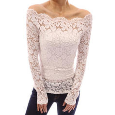 Solid Lace Off the Shoulder Long Sleeves Casual Elegant Sexy Blouses