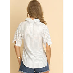 Striped Lapel 1/2 Sleeves Button Up Casual Elegant Shirt Blouses