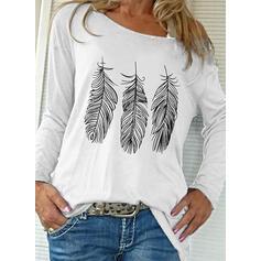Impresión Cuello redondo Manga Larga Casual Camisetas