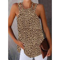 leopardi pyöreä kaula-aukko Hihaton Rento Tankit