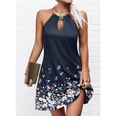 Impresión/Floral/Escotado por detrás Sin mangas Tendencia Sobre la Rodilla Casual Vestidos