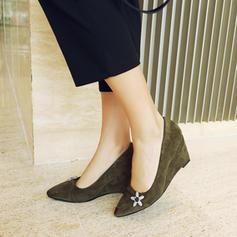 Femmes Suède Talon compensé Escarpins Bout fermé Compensée avec Strass chaussures