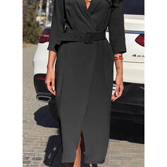 Solid 3/4 Sleeves Sheath Little Black/Elegant Midi Dresses