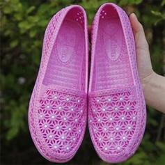 Kvinnor Plast Flat Heel Platta Skor / Fritidsskor med Satäng Blomma Ihåliga ut skor
