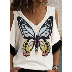 Animal Print Cold Shoulder 3/4 Sleeves Casual Blouses