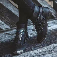 Women's PU Low Heel Boots With Buckle Tassel shoes