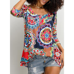 Print Floral Round Neck 3/4 Sleeves Button Up Casual Blouses