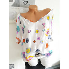 Print V-Neck 1/2 Sleeves Casual Blouses