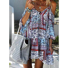 Print Cold Shoulder Sleeve Shift Above Knee Casual/Vacation Dresses