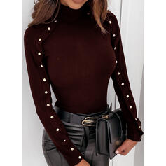 Solid Stand collar Long Sleeves Button Up Casual Knit Blouses