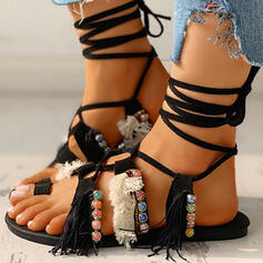 Women's Suede Flat Heel Sandals Peep Toe With Imitation Pearl Lace-up shoes
