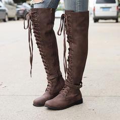PU Alacsony sarok Csizma -Val Csat Lace-up cipő