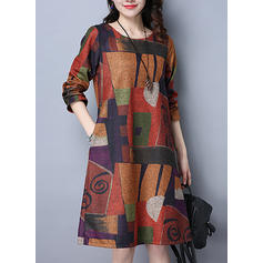 Print/Patchwork Long Sleeves Shift Knee Length Casual Dresses
