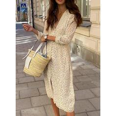 Print 3/4 Sleeves Sheath Casual/Elegant Midi Dresses