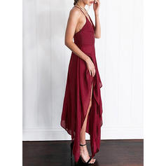 Solid Sleeveless Shift Asymmetrical Sexy/Casual/Party Dresses