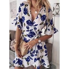Print 1/2 Sleeves/Flare Sleeves A-line Above Knee Casual/Elegant Dresses