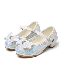 Girl's Sparkling Glitter Low Heel Round Toe Pumps Flower Girl Shoes With Bowknot Rhinestone