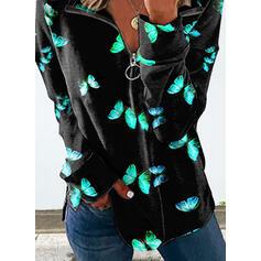 Tisk fluture Rever Dlouhé rukávy Hanorac