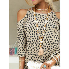 Print/Leopard 3/4 Sleeves Shift Above Knee Casual Dresses