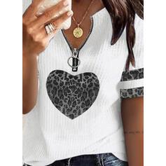 Print Leopard Heart V-Neck Short Sleeves Casual Blouses