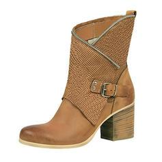 Femmes Similicuir Talon bottier Escarpins Bout fermé Bottes Bottes mi-mollets Martin bottes avec Boucle chaussures