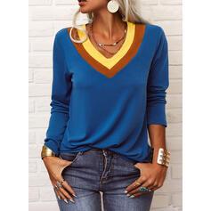 Color Block V-Neck Long Sleeves Casual T-shirts