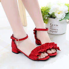 Girl's Suede Peep Toe Sandals Flats With Ruffles Button